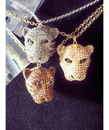 Silver  or Rose Rhinestone 3D Leopard Cat Head Necklace Pendant w Chain  - $39.99