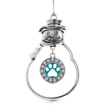 Inspired Silver Pretty Paw Print Circle Snowman Holiday Christmas Tree Ornament  - $14.69