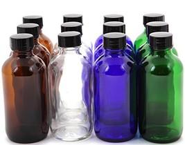 Vivaplex, 12, Assorted Colors, 4 oz Glass Bottles, with Lids - $14.92