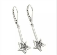 NWT Coach Wizard of Oz Wand Shaped Earrings Silver Paved Stars F39552  - $29.99
