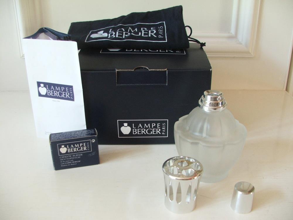 Lampe Berger Paris Catalytic Burner Frosted Glass Bottle Frangrance EUC - $49.49