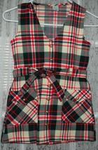 "Vintage Girls Dress ""Alyssa"" Size 7 Plaid Red Blue Green Romper Pocket T... - $14.99"
