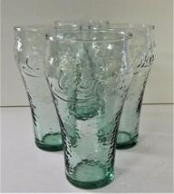 4 Coca Cola Light Green Pebble Soda Fountain Glasses Enjoy Coke   - $29.69