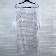 New Eliza J Size 14 Embroidered Lace Sheath Dress New White Nude Bridal Bride - $69.85