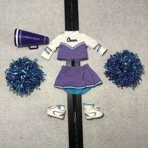 AMERICAN GIRL Cheerleader Outfit IV 4 Just Like You Pom Purple Teal Aqua Retired - $34.99
