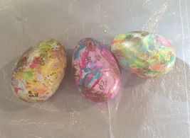 Hand Marble Swirl Painted Plastic Easter Eggs x3 - $8.99