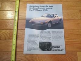 Mazda 1979 RX7 RX 7 4 page Car auto Dealer showroom Sales Brochure - $9.99