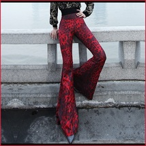 Retro 60s Flare Bell Bottom High Waist Red and Black Leopard Cotton Print Pants  image 2