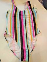 Hula Honey Aqua Multi Color One Piece Swimwear Size Large image 1