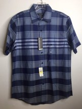 VAN HEUSEN Blue Plaid Classic Fit Wrinkle Free Short Sleeve Shirt Sz S 1... - $23.36