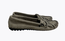 Minnetonka Moccasin Grey Suede Driving Loafers Slip on Shoes Size 8.5 M - $27.59