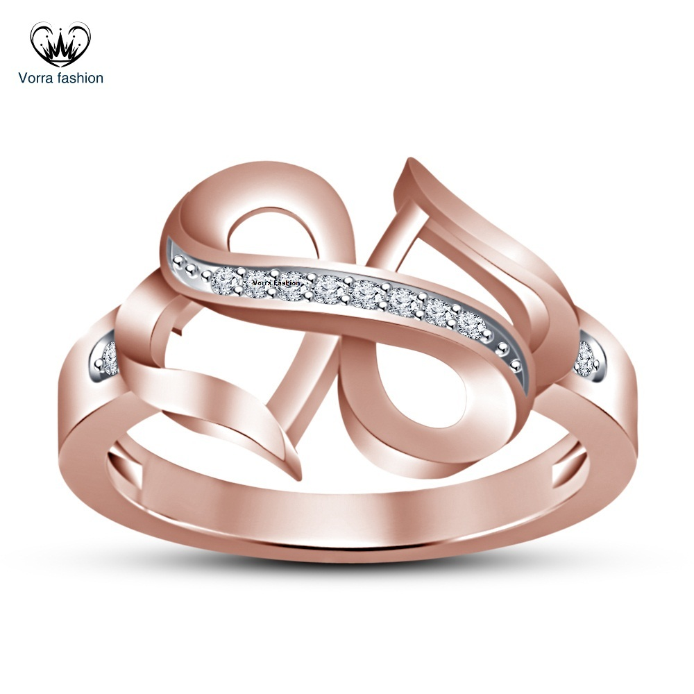 Primary image for Round Cut CZ Rose Gold Plated 925 Silver Engagement Infinity Double Heart Ring