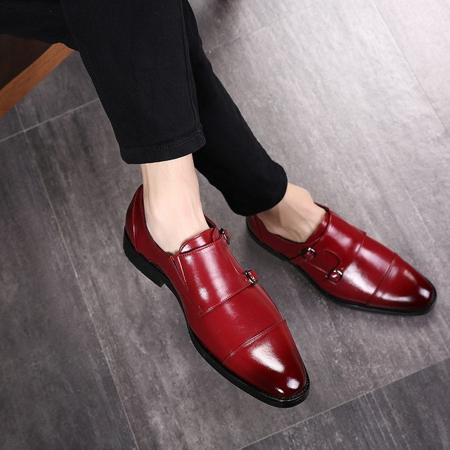 Handmade Men's Red Leather Double Monk Strap Shoes