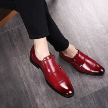 Handmade Men's Red Leather Double Monk Strap Shoes image 1