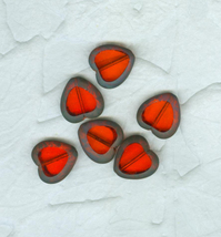 12 Table Cut Red Glass Heart Beads 16 mm Costume Jewelry Crafts - $9.99