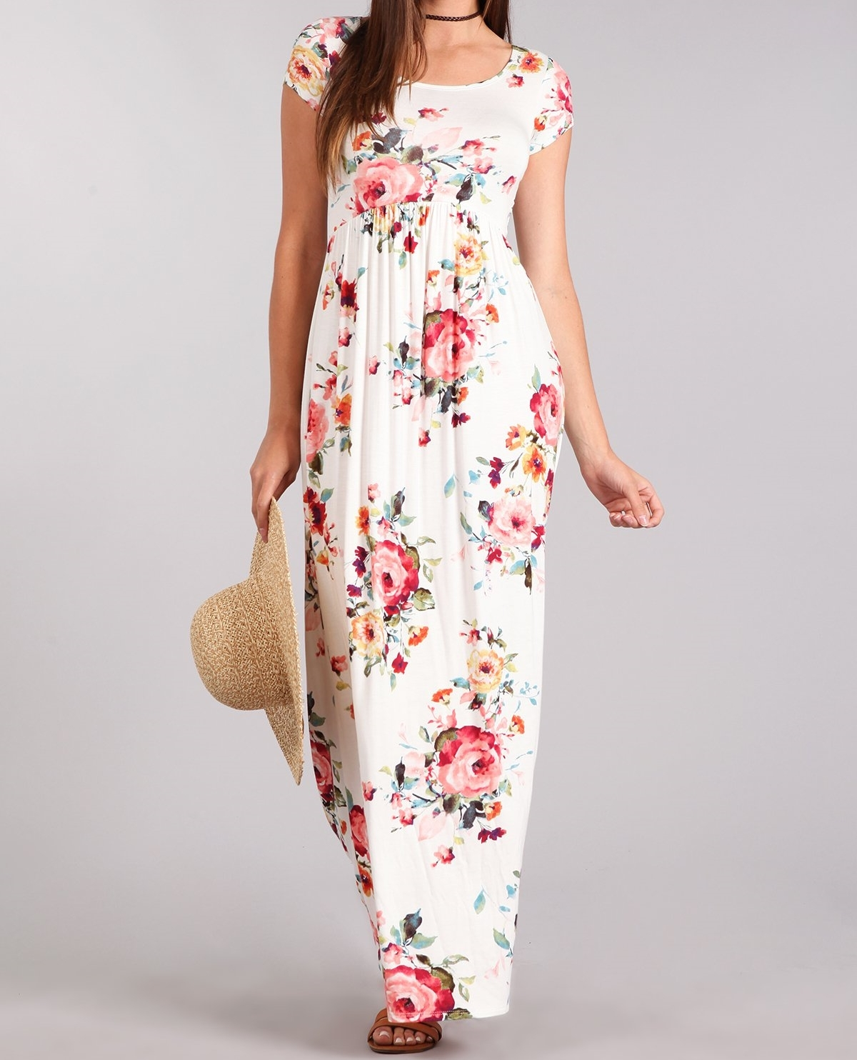 Ivory Floral Maxi Dress, Short Sleeve Maxi Dress, Multicolor Floral Dress