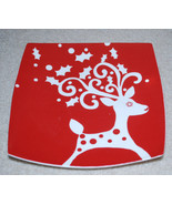 """Cypress Home Square Plate Christmas Reindeer Red & White 8"""" Holiday Plat... - $13.32"""