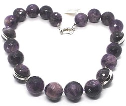 SILVER 925 NECKLACE, SPHERES LARGE AMETHYST FACETED 20 MM, LENGTH 50 CM image 1