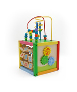8 x 8 Inch Wooden Learning Bead Maze Cube 5 in 1 Activity Center Educati... - £65.05 GBP