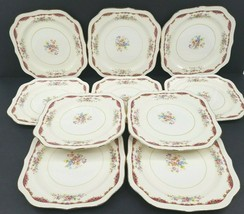10 Homer Laughlin Eggshell Georgian Square Salad Plates Vintage Red Gold Floral - $118.47