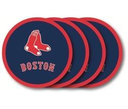 BOSTON RED SOX 4 PACK HEAVY DUTY VINYL DRINK COASTER SET MLB BASEBALL - $13.92