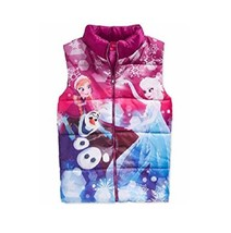 Disney Little Girls' Frozen Anna, Elsa & Olaf Puffer Vest, Grape Punch, Size 2T. - $19.79