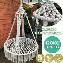 Nordic Style Round Hammock Swing Hanging Chair Outdoor Indoor Garden Fur... - $145.12