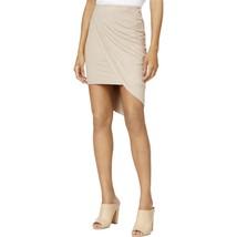 Kensie Faux Suede Womens Taupe Hi-lo Hem Asymmetric Mini Wrap Skirt Dress $59 - $19.79