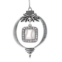 Inspired Silver Baseball Classic Holiday Christmas Tree Ornament With Crystal Rh - $14.69