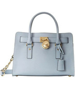 MICHAEL KORS HAMILTON PALE BLUE GOLD SAFFIANO LEATHER EW SATCHEL BAGNWT - $209.99