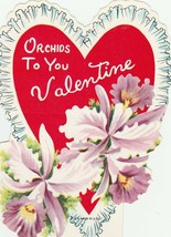 Vintage Valentine Card Orchids Die Cut for Child 1950s - $6.92
