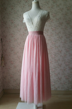 Floor Length Pink Tulle Skirt Pink Bridesmaid Tulle Skirt Plus Size image 5