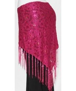 PINK Gypsy Tribal Belly Dance Dancing Sarong Flamenco Lace Scarf Fringe ... - $16.82