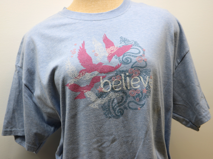 Believe Light Blue Short Sleeve Women's T-Shirt XL