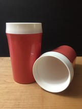 Vintage 60s set of 2 Coral NFC Insulated Tumblers image 2