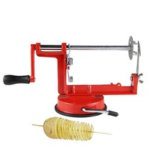 Manual Red Stainless Steel Twisted Potato Apple Slicer Spiral French Fry... - $23.26
