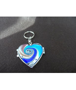 Lot of 10 navy, teal, silver swirl murano glass heart picture frame keyc... - $28.00