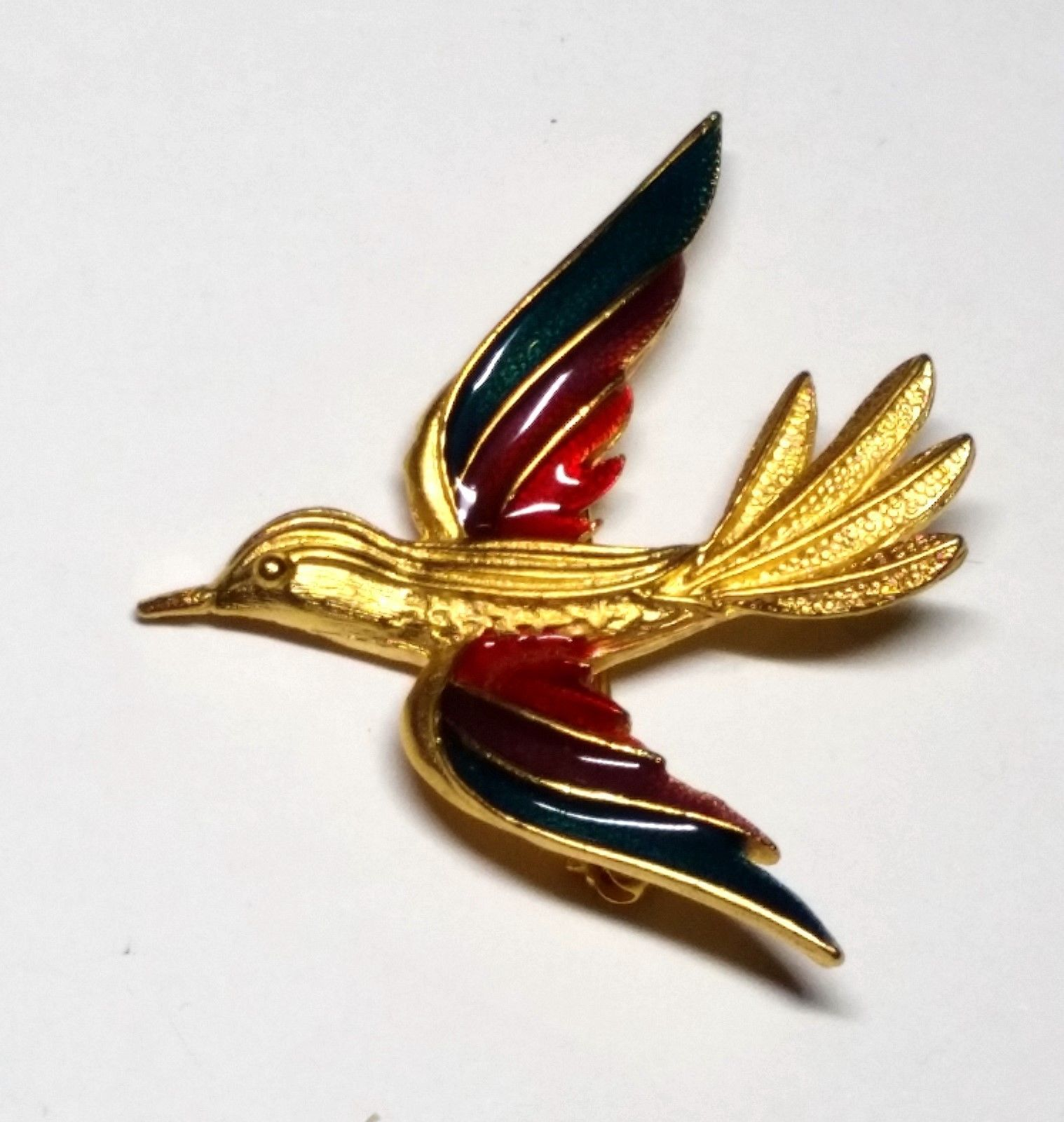 Vintage Gold Tone Bird with Red Purple Turquoise Enamel Wings Pin