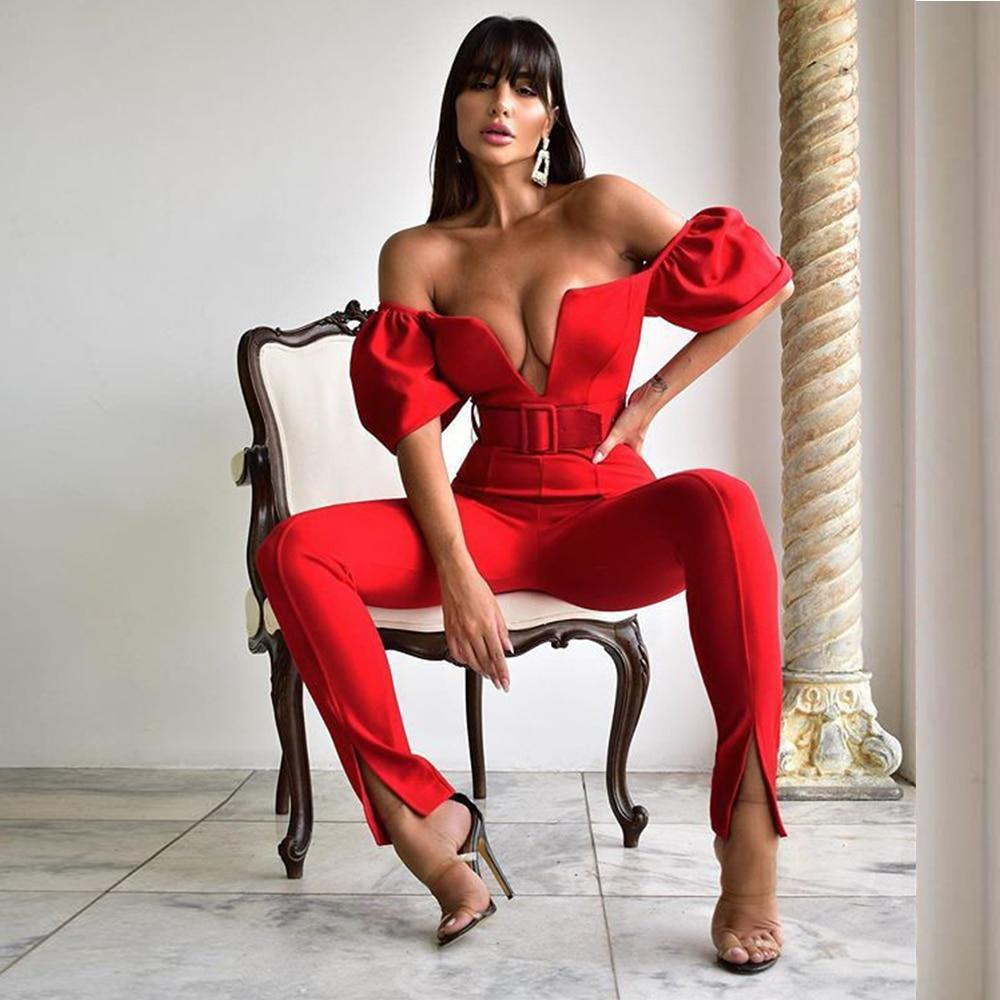 Cstrade sexy off shoulder party jumpsuit for women summer 2020 new arrival one piece red bodycon