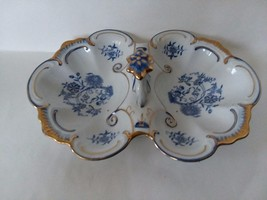 "Blue Gilt Divided 2 Compartment Serving Tray with Handle 11 1/2"" Long - $62.15"