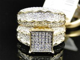 Women's Bridal Wedding Ring Set Round Cut Sim Diamond 14k Yellow GP 925 Silver - $138.60