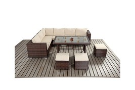 Garden Sofa Dining Table Set Outdoor Patio Contemporary 9 Seat Black - Mix Brown image 2