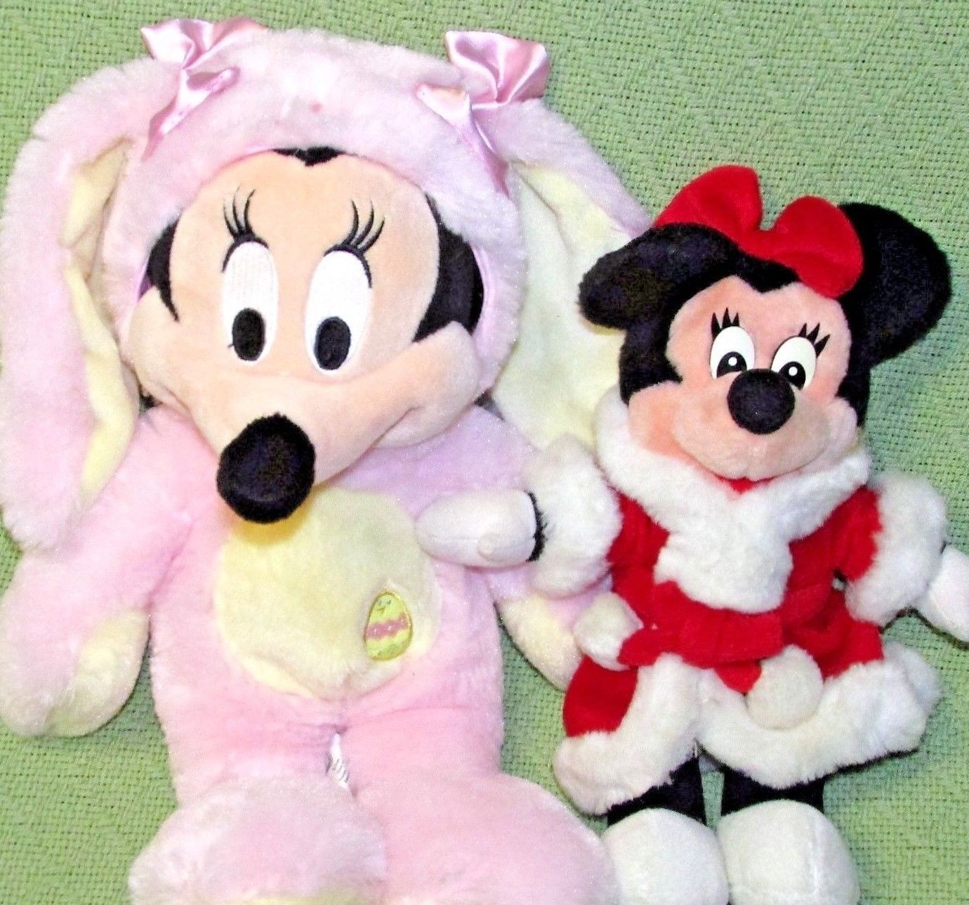 DISNEY STORE BABY Pink Easter Bunny & Mrs. Santa Claus Minnie Mouse Plush Dolls