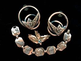 60s-70s Set of Copper Link Bracelet, Lawton Signed Brooch & Huge Pierced... - $44.00