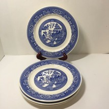 """4 Luncheon Plates Blue Willow Homer Laughlin 9.25"""" - $33.85"""