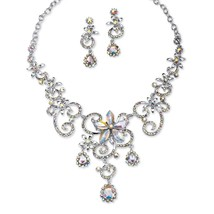 "PalmBeach Aurora Borealis Crystal Platinum-Plated Necklace Drop Earrings Set 18"" - $25.82"