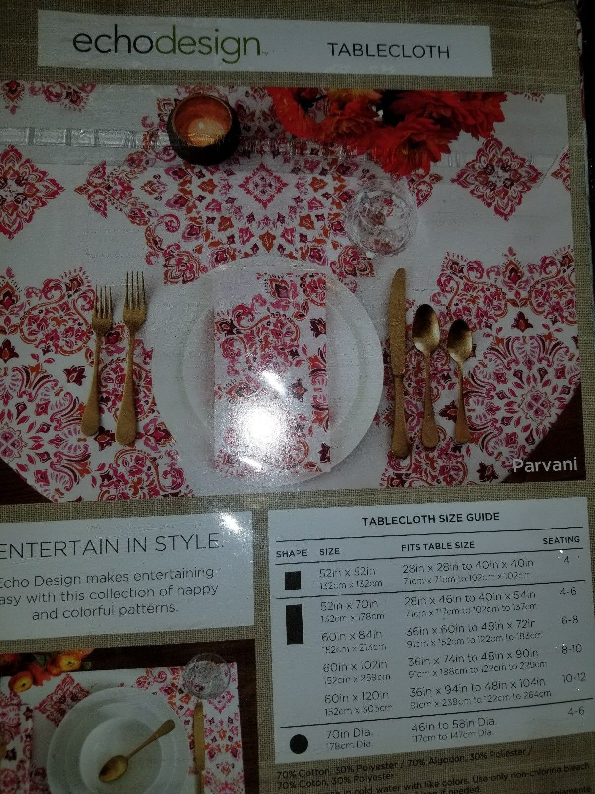 Tablecloth echodesign 52in X 52 in Square NEW