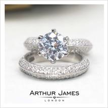 7Ct Kristall Diamant Krone Solitaire Damen Ehering Braut Swarovski Ring Set - $264.46