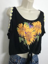 NWT Emma & Sam XS Crop Top Cold Shoulder Ties At Waist Black With Sunflo... - $22.00