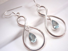 Cut Blue Topaz Dangle Earrings Sterling Silver Infinity Hoop Everlasting... - $23.71